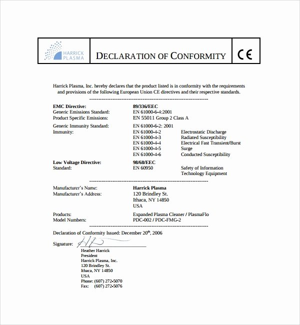 Certificate Of Conformity Template Awesome Sample Conformity Certificate Template 15 Documents In