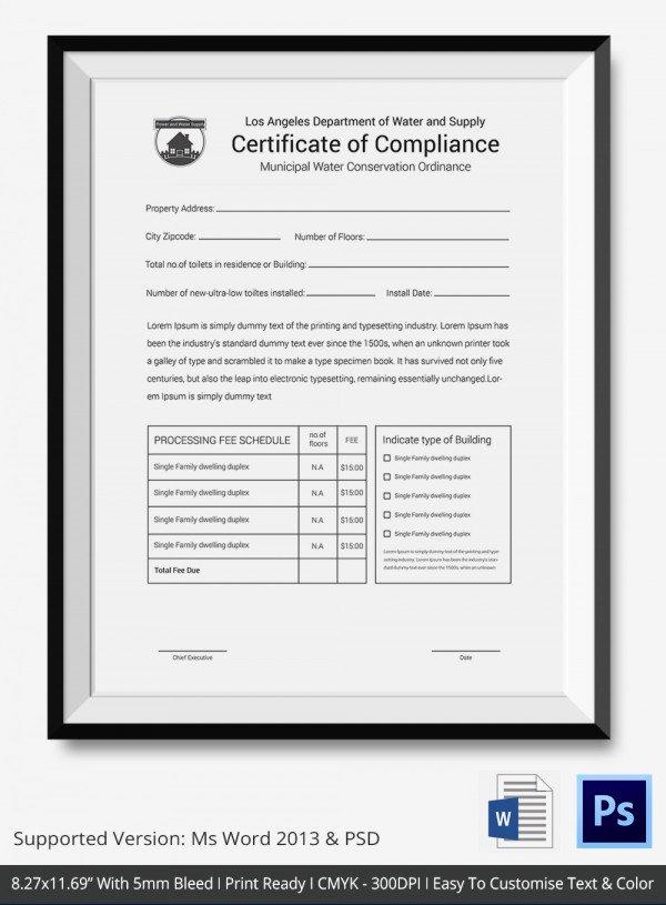 Certificate Of Conformity Template Beautiful Certificate Of Pliance Template – 12 Word Pdf Psd