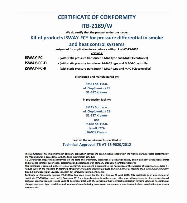 Certificate Of Conformity Template Beautiful Sample Conformity Certificate Template 8 Free Documents