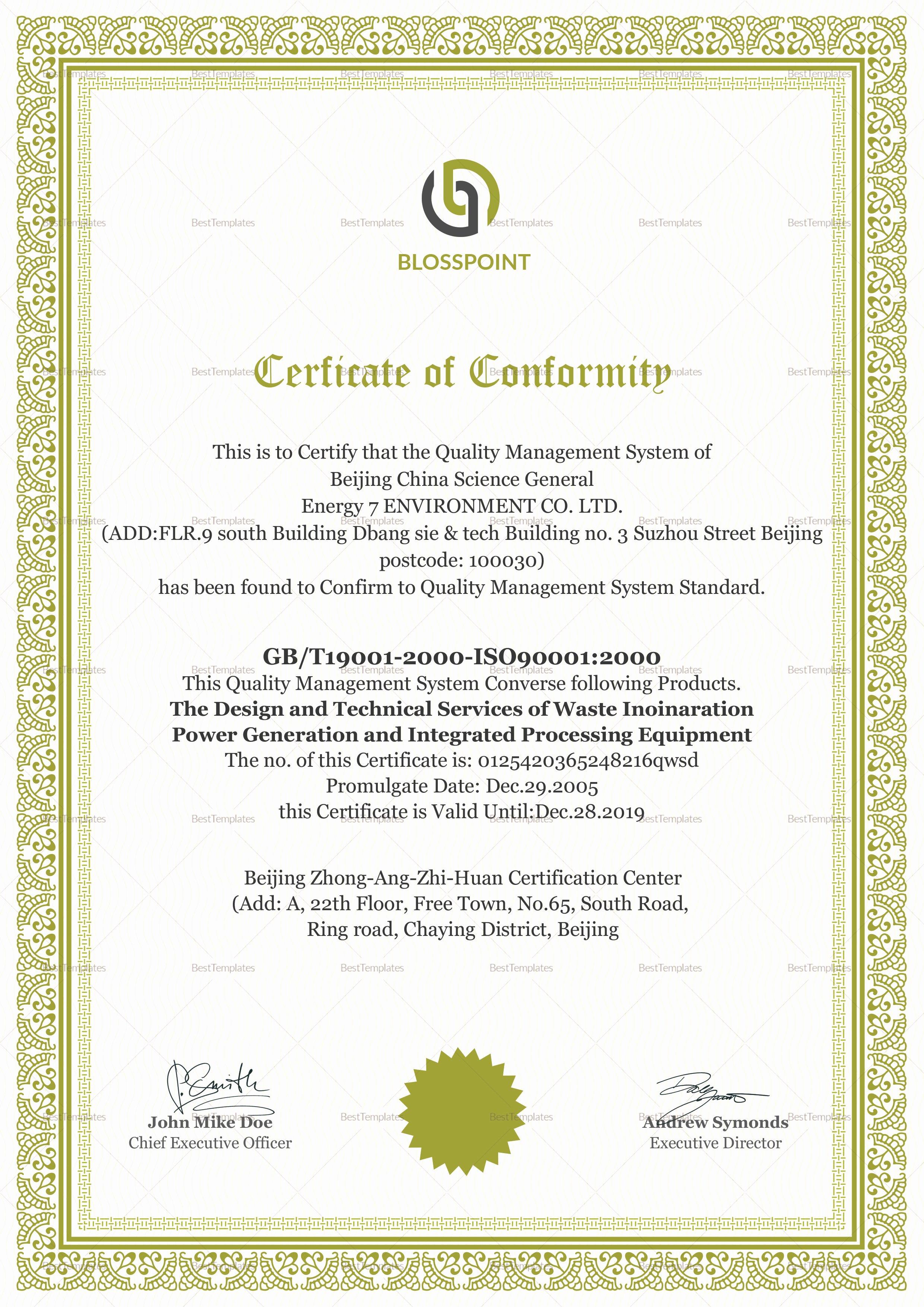 Certificate Of Conformity Template Beautiful Simple Conformity Certificate Design Template In Psd Word