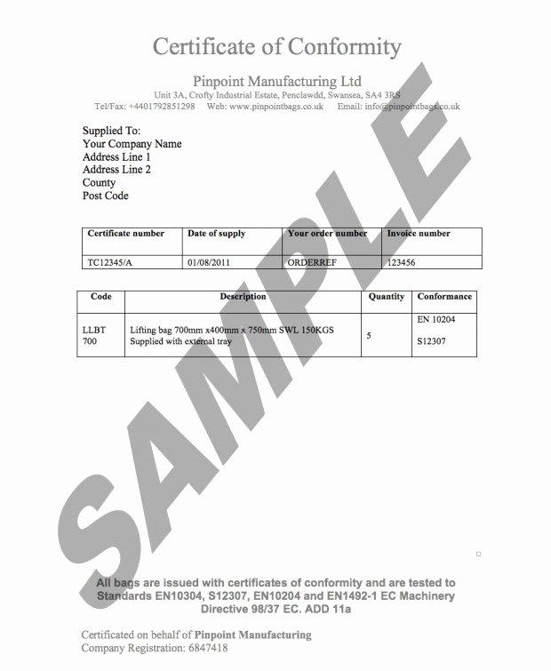 Certificate Of Conformity Template Elegant Load Ratings