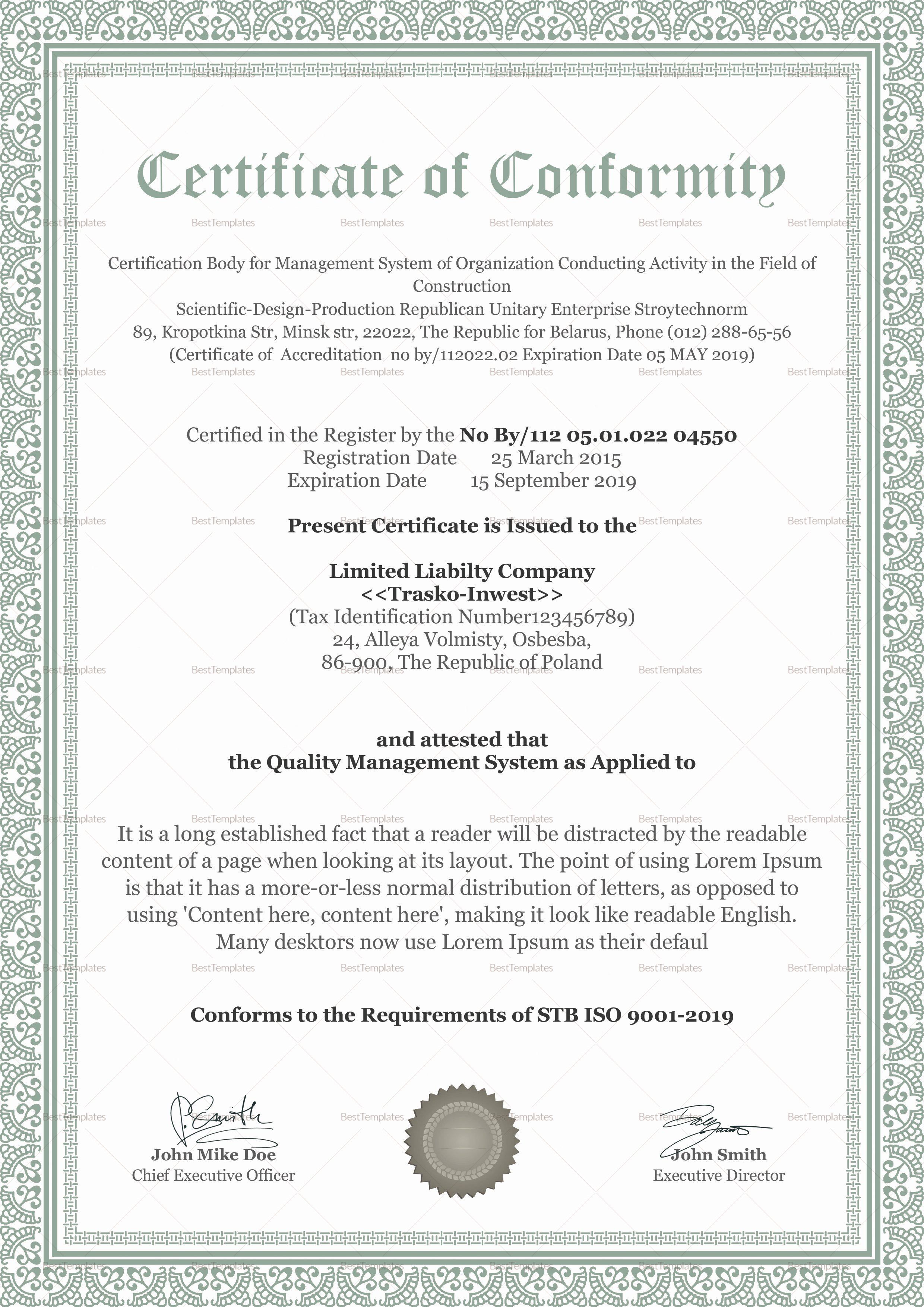 Certificate Of Conformity Template Fresh Conformity Certificate Design Template In Psd Word