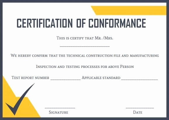 Certificate Of Conformity Template Inspirational Certificate Of Conformance Template