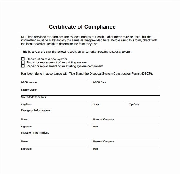 Certificate Of Conformity Template Inspirational Sample Certificate Of Pliance 16 Documents In Pdf