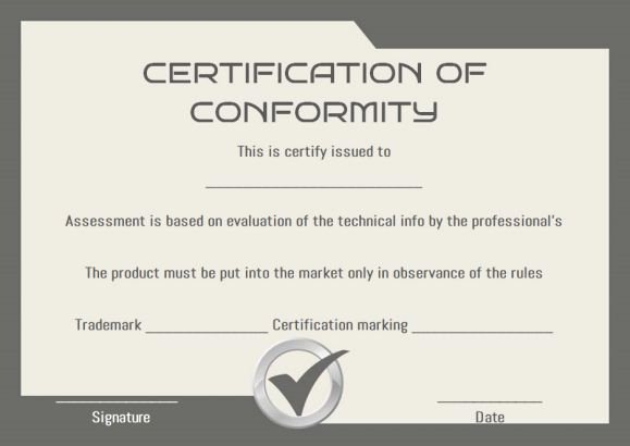Certificate Of Conformity Template Lovely Certificate Of Conformity Sample Templates