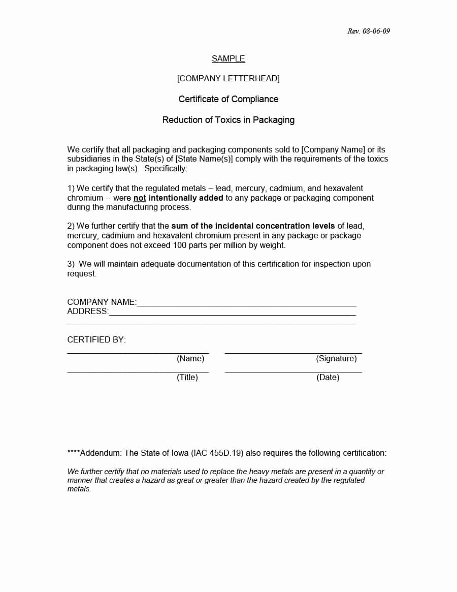 Certificate Of Conformity Template Luxury 40 Free Certificate Of Conformance Templates & forms