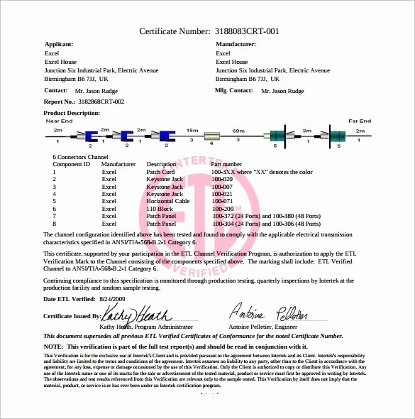 Certificate Of Conformity Template New Sample Certificate Of Conformance 23 Documents In Pdf