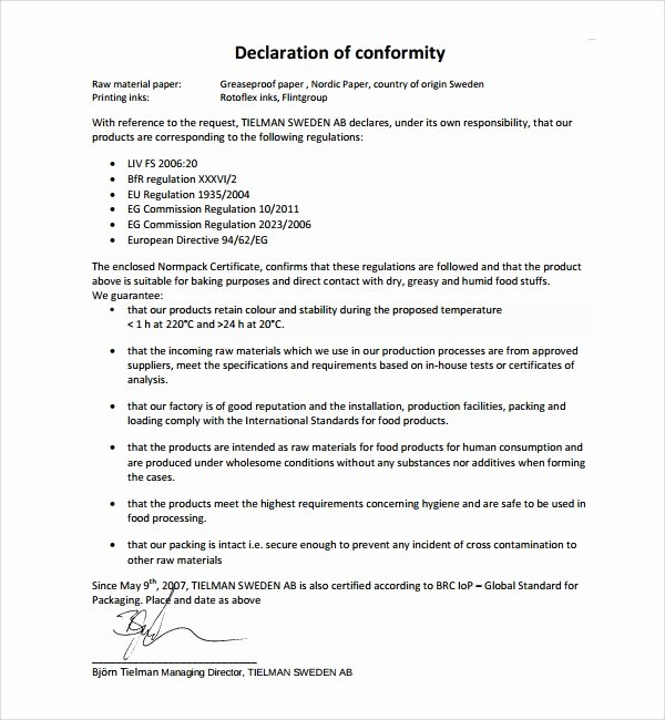 Certificate Of Conformity Template New Sample Conformity Certificate Template 15 Documents In