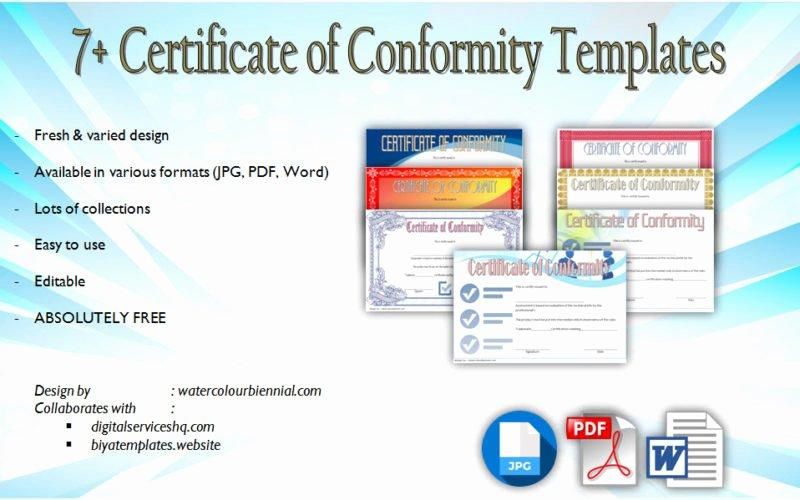 Certificate Of Conformity Template Unique 7 Certificate Of Conformity Templates