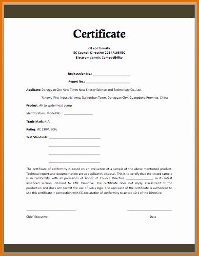 Certificate Of Conformity Template Unique Certificate Conformance