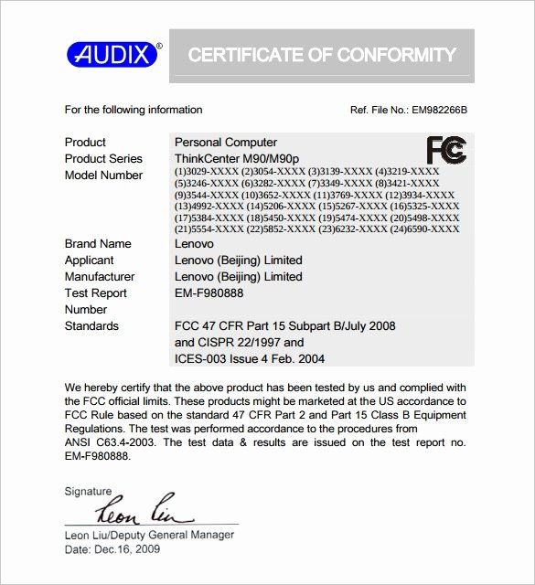Certificate Of Conformity Template Unique Sample Certificate Of Conformance 23 Documents In Pdf