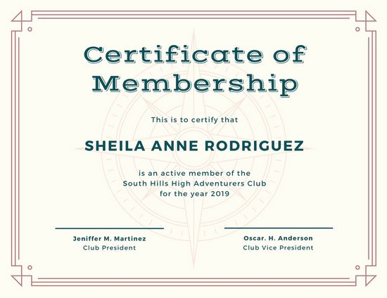 Certificate Of Membership Template Beautiful Customize 1 965 Certificate Templates Online Canva