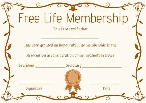 Certificate Of Membership Template Best Of Free Life Membership Certificate Template