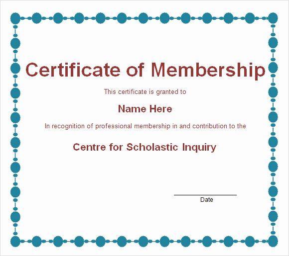 Certificate Of Membership Template Fresh Membership Certificate Template 15 Free Sample Example