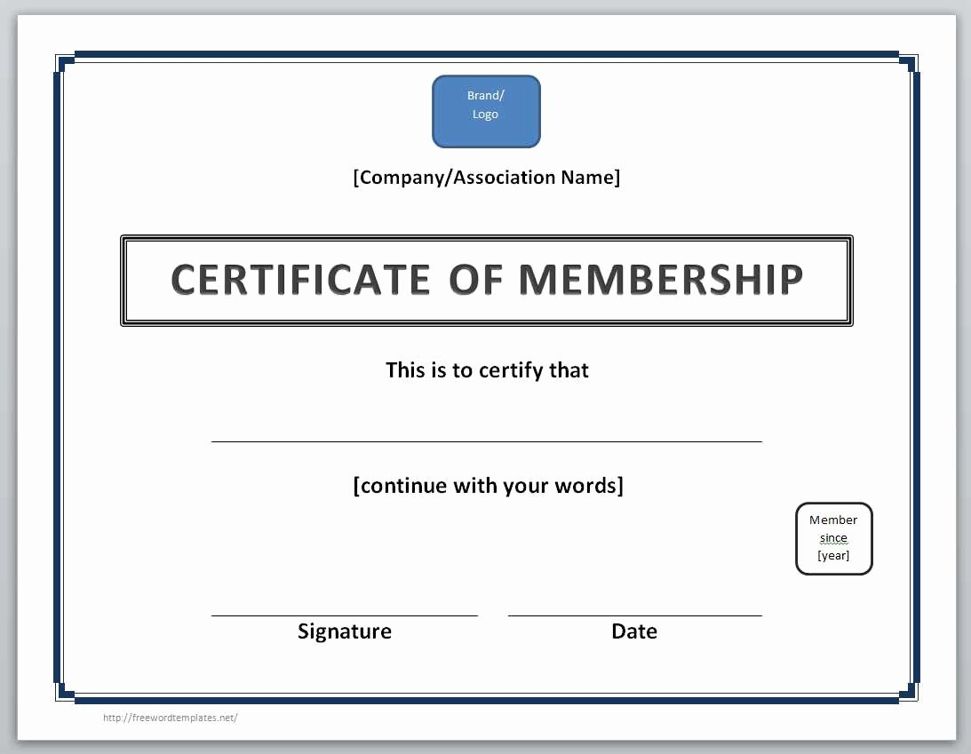 Certificate Of Membership Template Inspirational 13 Free Certificate Templates for Word