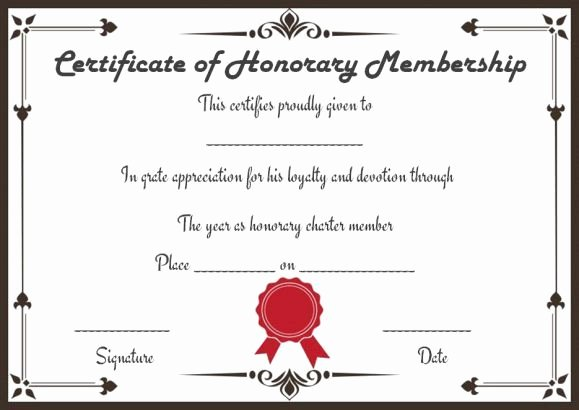 Certificate Of Membership Template Inspirational Free Honorary Life Membership Certificate Templates