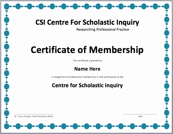 Certificate Of Membership Template Inspirational Membership Certificate Template Free Template Downloads