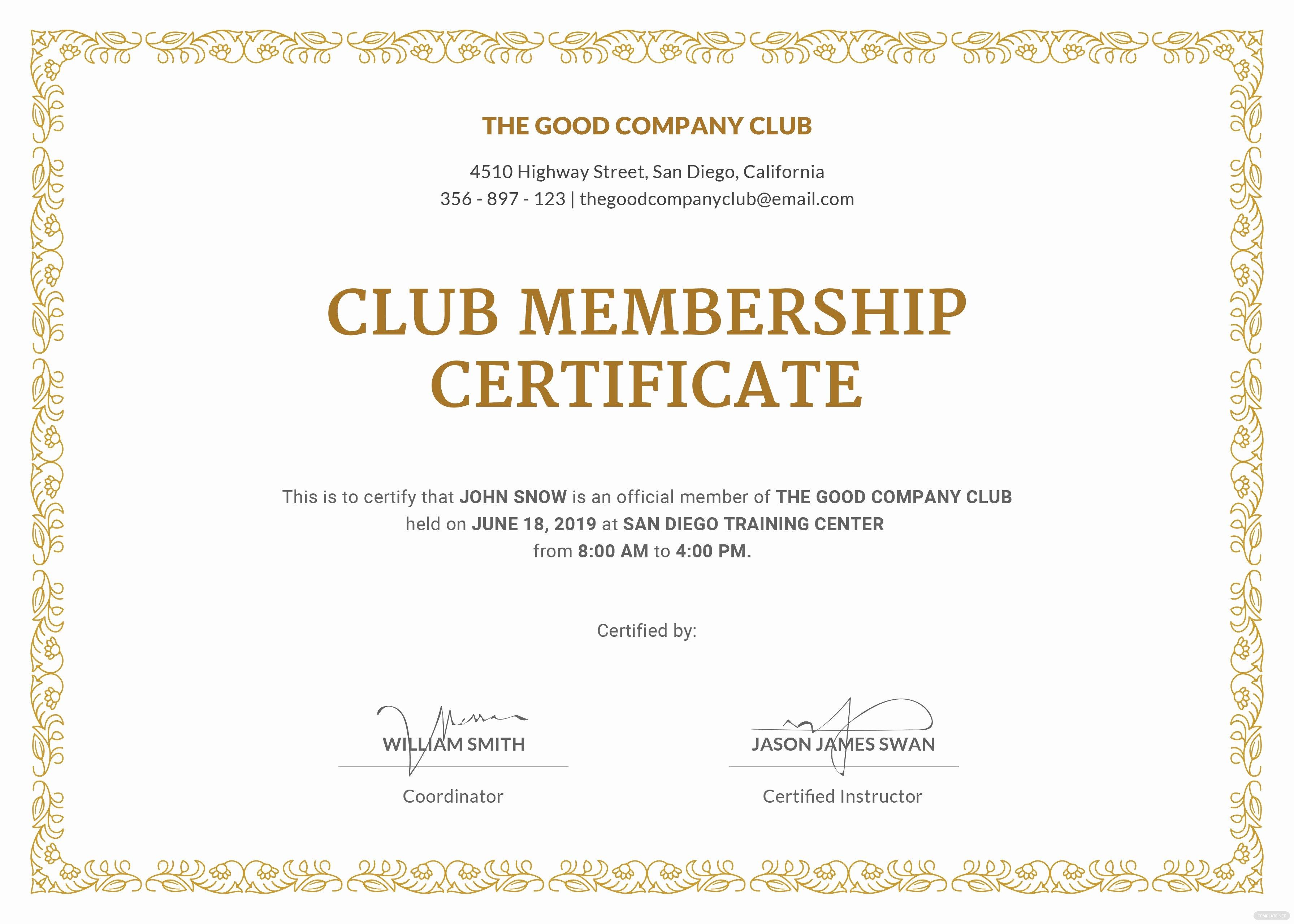 Certificate Of Membership Template Lovely Free Club Membership Certificate Template In Adobe