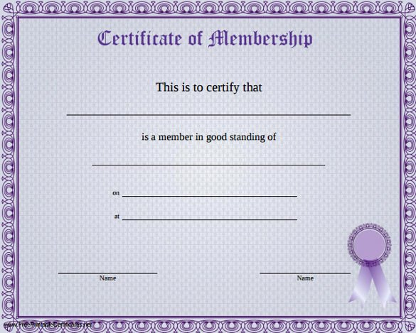Certificate Of Membership Template New 23 Membership Certificate Templates Word Psd In