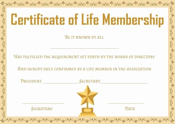 Certificate Of Membership Template New Free Life Membership Certificate Templates