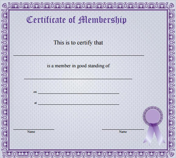 Certificate Of Membership Template New Membership Certificate Template 15 Free Sample Example