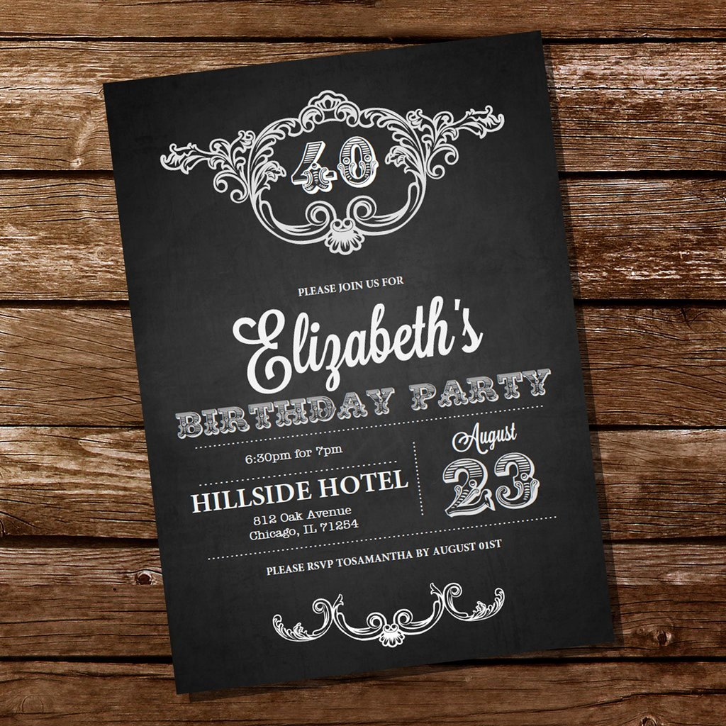 Chalkboard Invitation Template Free Awesome Vintage Chalkboard Birthday Invitation