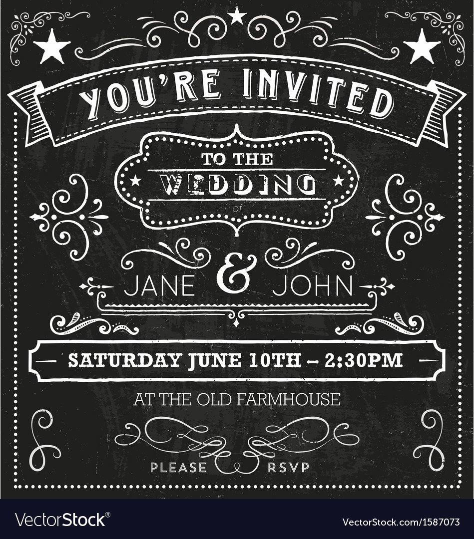 Chalkboard Invitation Template Free Awesome Wedding Chalkboard Invitation Elements Royalty Free Vector