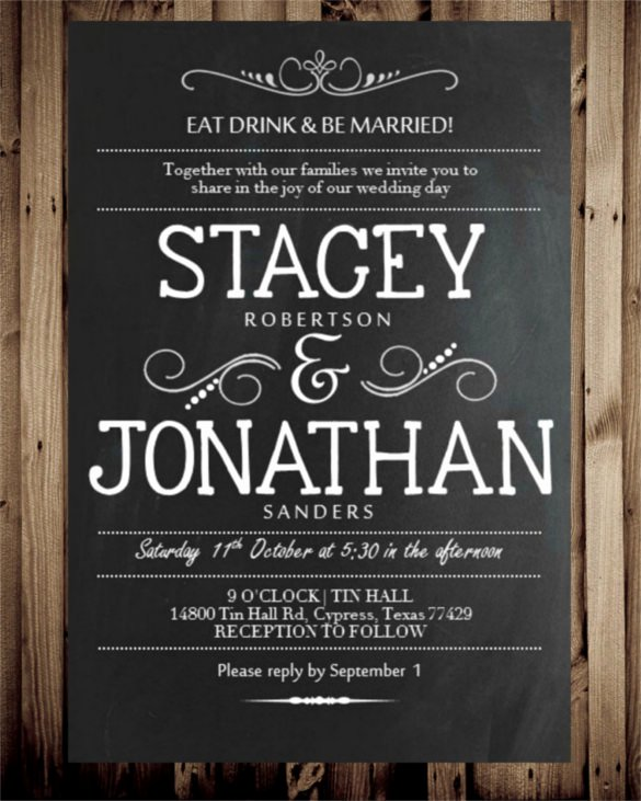 Chalkboard Invitation Template Free Elegant 26 Chalkboard Wedding Invitation Templates – Free Sample