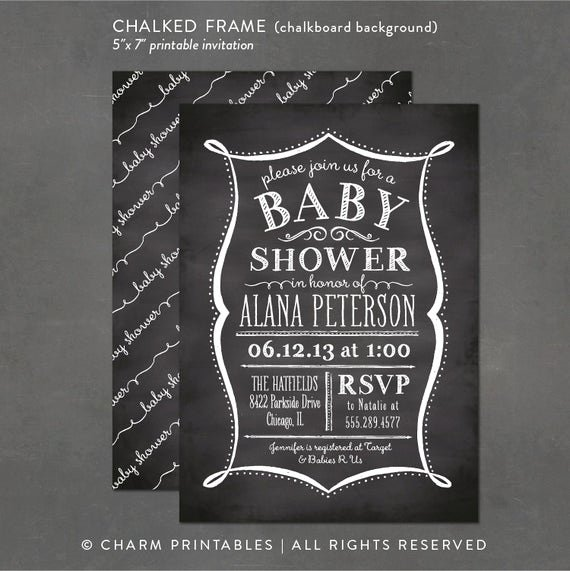 Chalkboard Invitation Template Free Fresh Items Similar to Printable Baby Shower Invitation