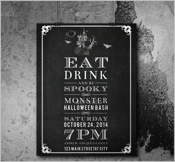 Chalkboard Invitation Template Free Luxury 35 Halloween Invitation Free Psd Vector Eps Ai