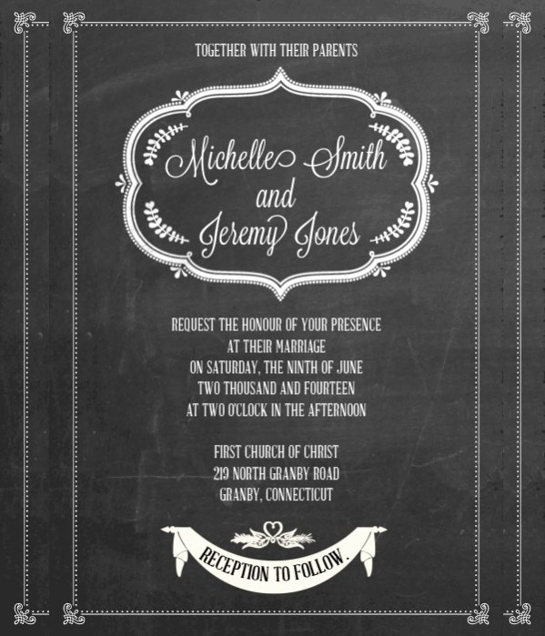 Chalkboard Invitation Template Free New 35 Free Elegant Wedding Invitations Psd Word Ai Eps