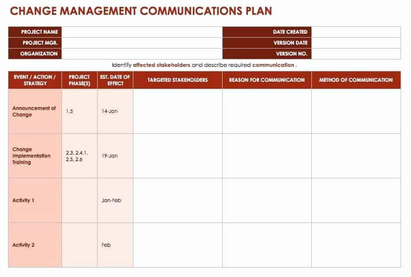 Change Management Plan Template Beautiful Free Change Management Templates