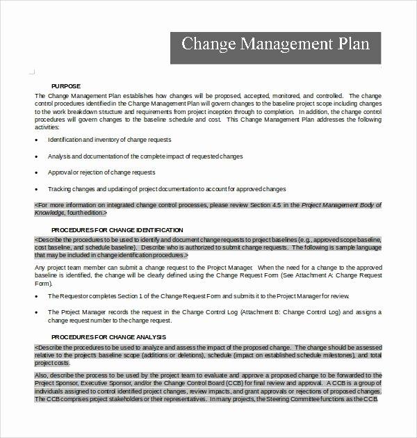 Change Management Plan Template Inspirational 10 Change Management Plan Templates