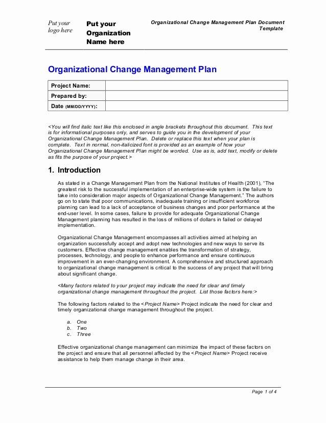 Change Management Plan Template Unique organization Change Management Plan Template
