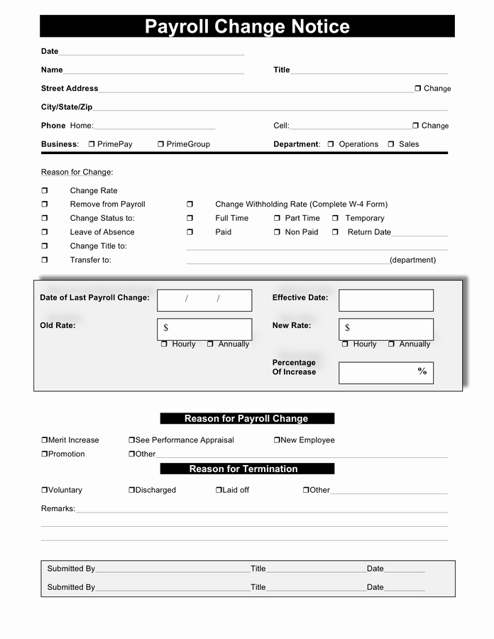 Change Of Address form Template Awesome Payroll Change form Free Documents for Pdf