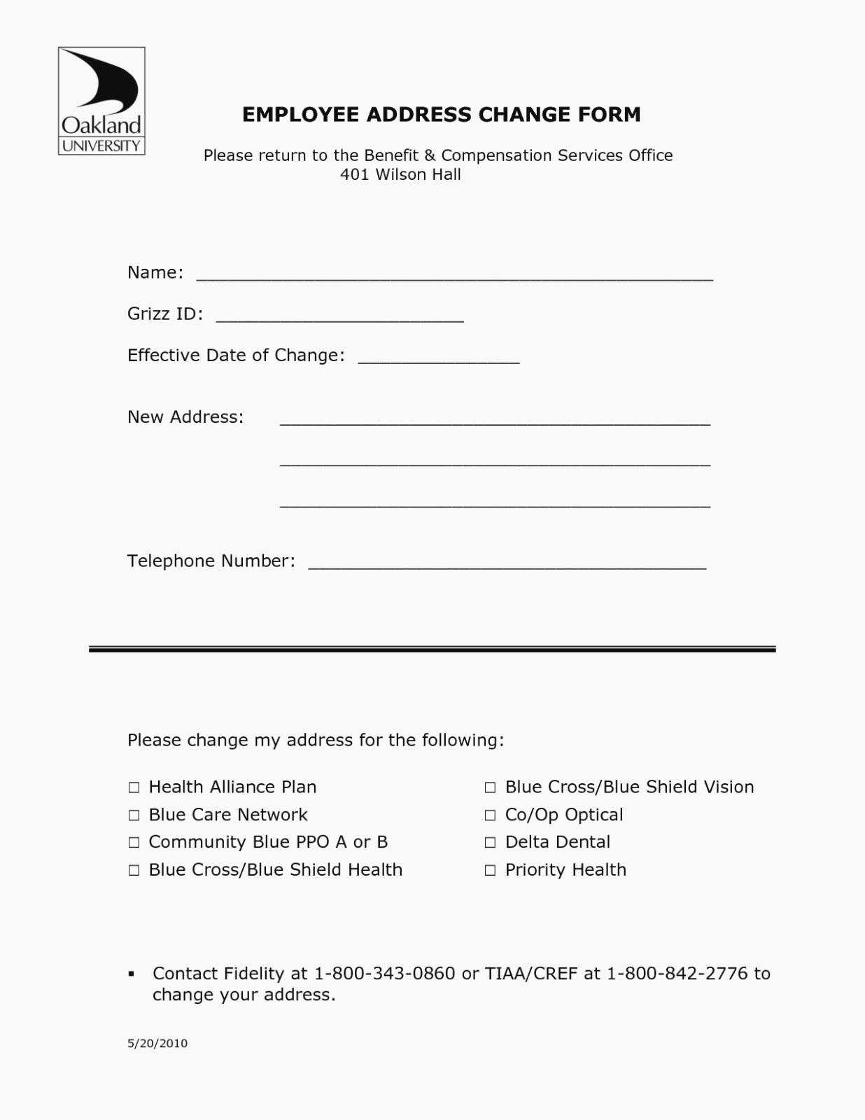 Change Of Address form Template Beautiful Address Change form Template Free Resume Hr Employee Stock