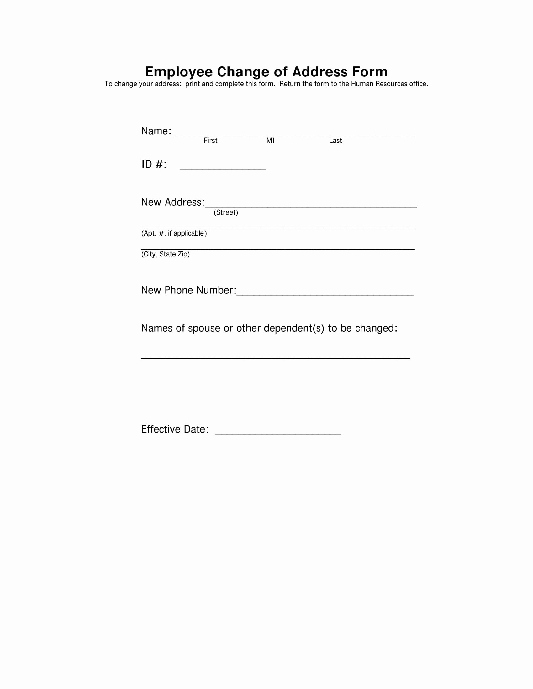 Change Of Address form Template Best Of 19 Examples Of Hr forms Pdf