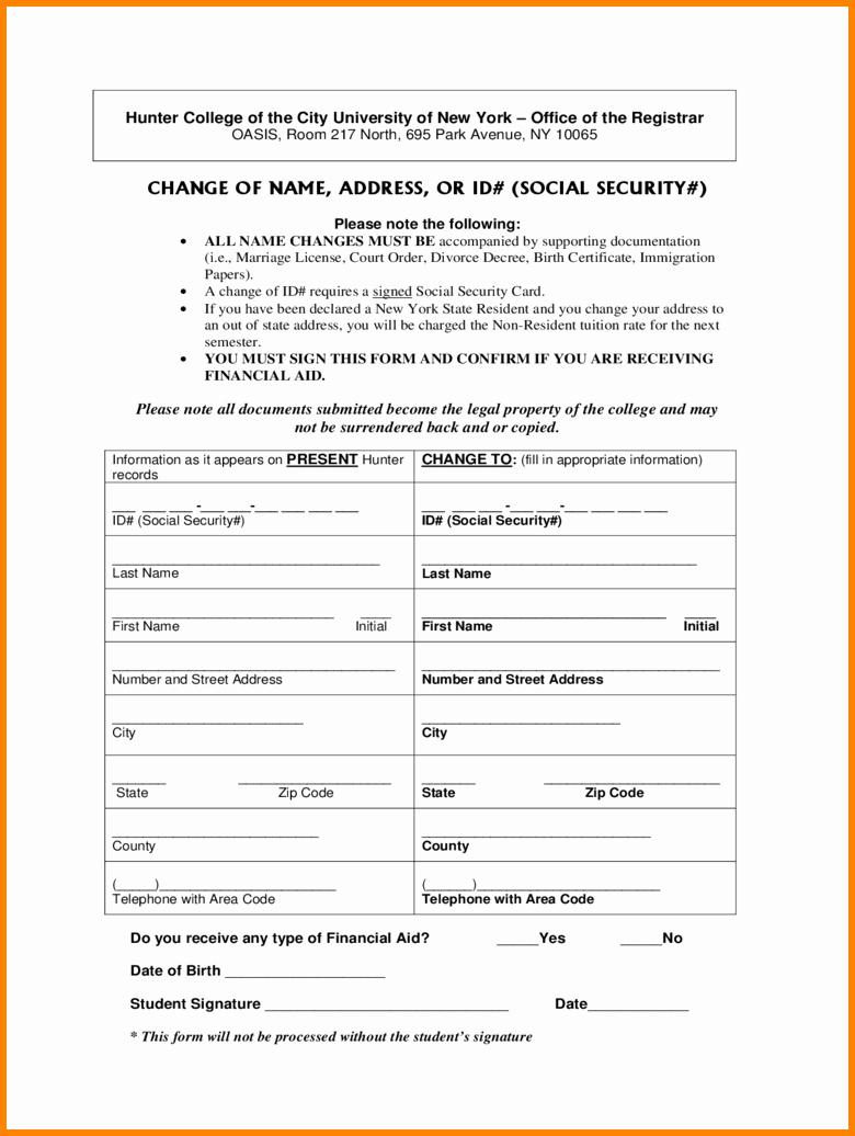 Change Of Address form Template Elegant 10 social Security Update Address