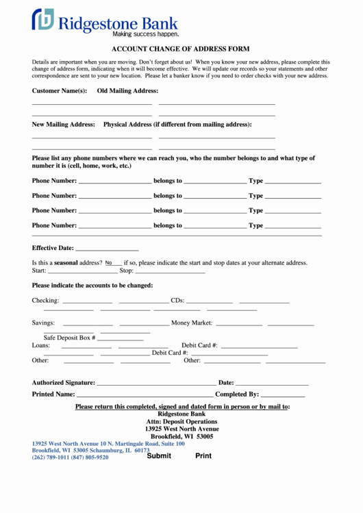 Change Of Address form Template Elegant Fillable Account Change Address form Printable Pdf