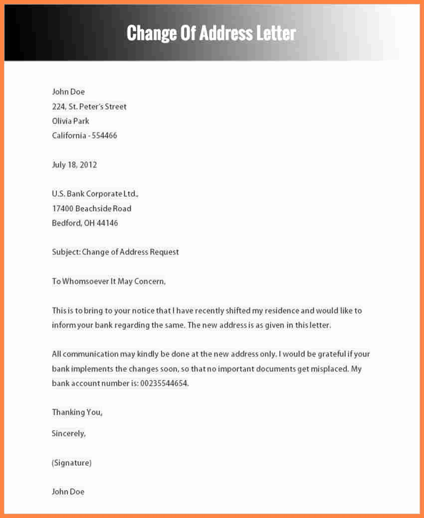 6 change of address notice template