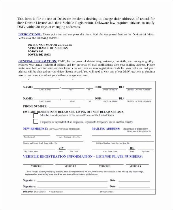 Change Of Address form Template Luxury Dmv Change Of Address form Sample 8 Examples In Pdf