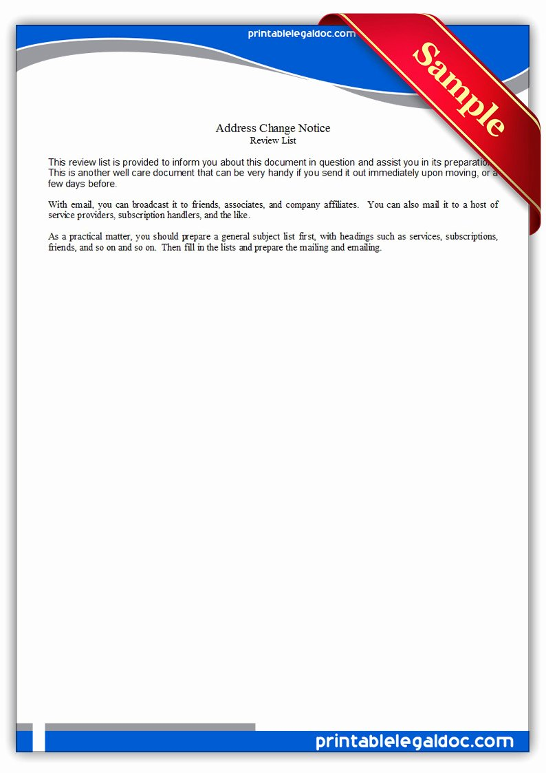 Change Of Address form Template New Free Printable Address Change Notice form Generic