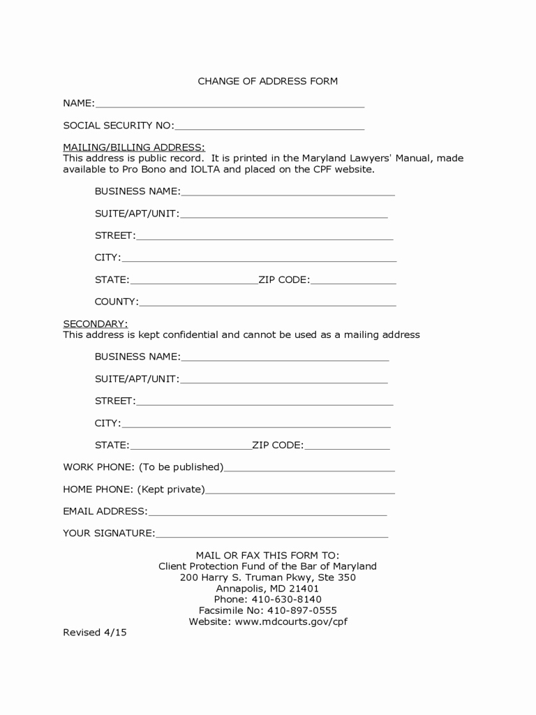 Change Of Address form Template New social Security Change Of Address form 5 Free Templates
