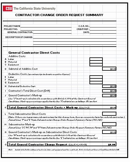 Change order Request Template Best Of 3 Construction Change order Templates