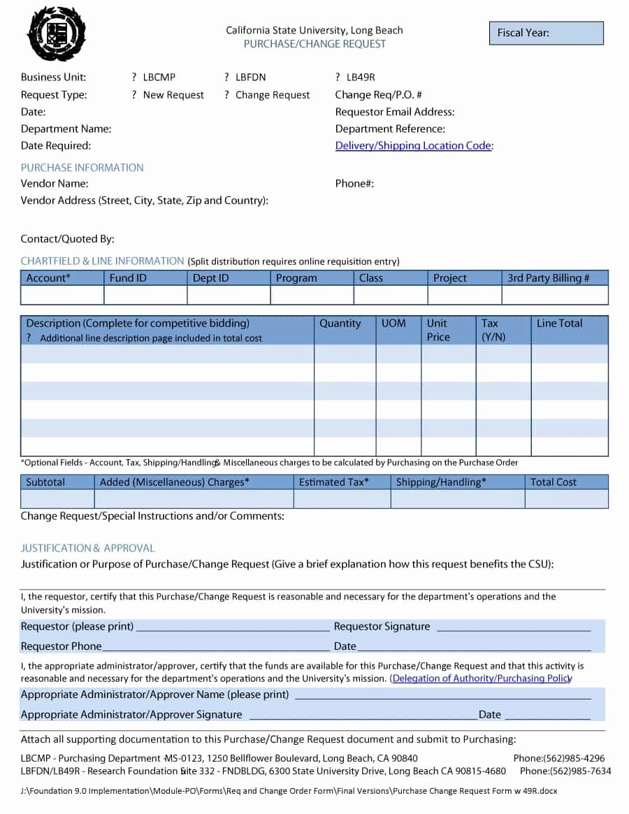 Change order Request Template Elegant 40 order form Templates [work order Change order More]