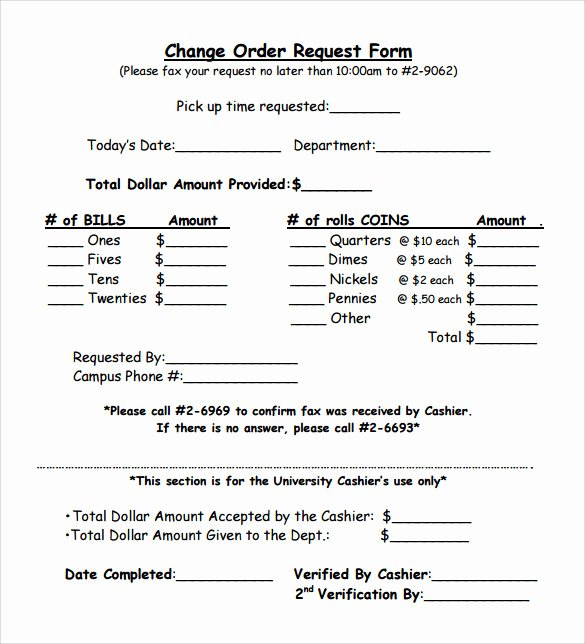 Change order Request Template Fresh 11 Change order Samples