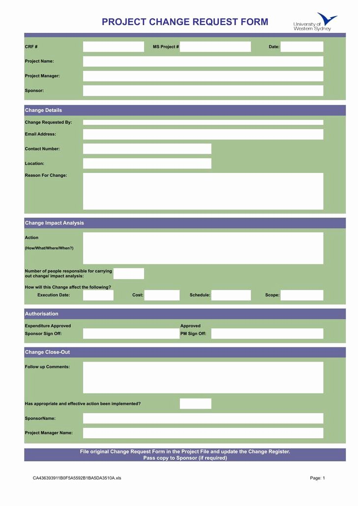Change order Request Template Fresh 11 Change order Template Free Download