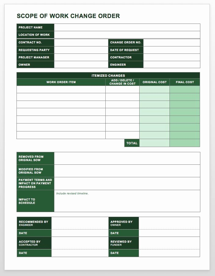 Change order Request Template Luxury Plete Collection Of Free Change order forms