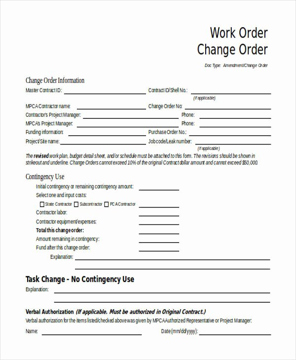 Change order Template Word Best Of Change order forms 9 Free Word Pdf format Download