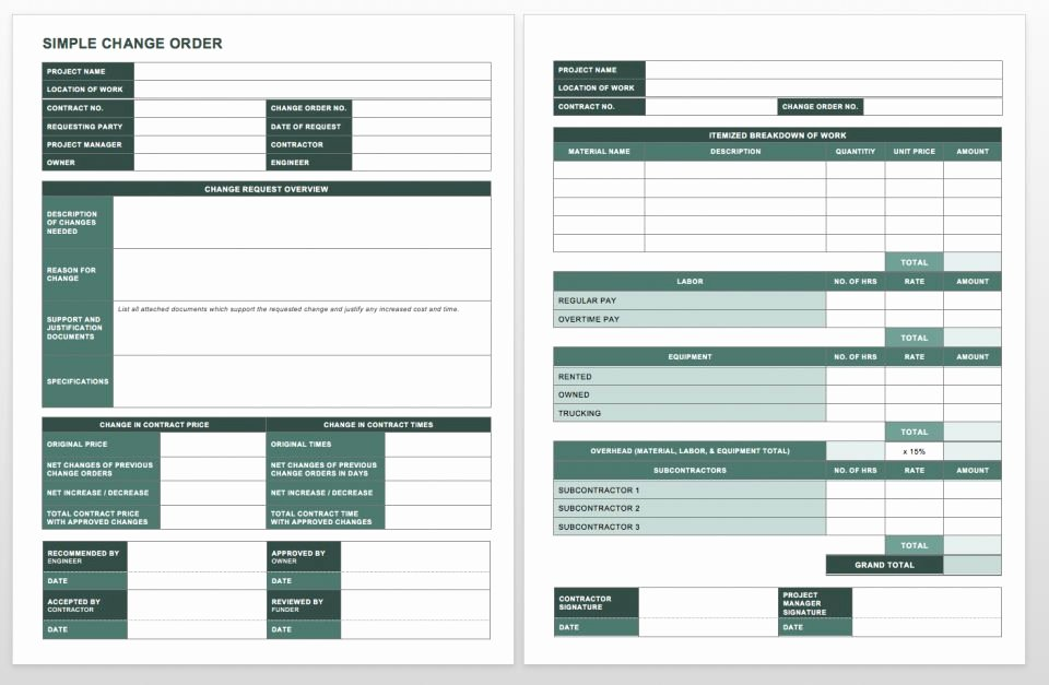 Change order Template Word Best Of Plete Collection Of Free Change order forms
